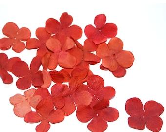 100 Artificial Silk Hydrangea Blossoms in Rich Orange - Artificial Flowers, Silk Blossoms - PRE-ORDER