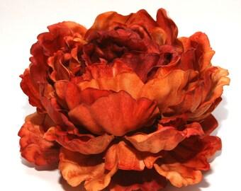 1 ENORMOUS Rust Orange Peony - Artificial Flower Head, Silk Flowers - PRE-ORDER