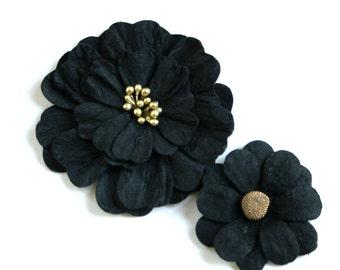 8 Paper Flowers in Black - Scrapbooking, Hair Flowers, Craft Flowers, Stationary