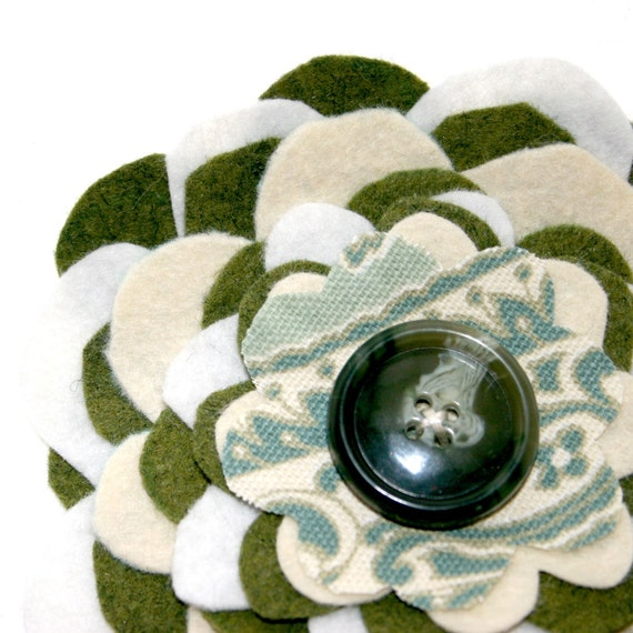 1 Wool Felt Eternal Zinnia Blossom - Green and White - With Green Button Center - Artificial Flowers, Fabric Flowers, Hair Flowers
