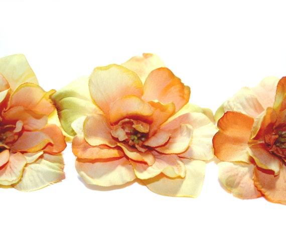 3 Orange Gold Silk Delphinium Blossoms - Artificial Flowers, Silk Flowers