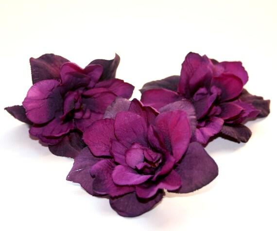 3 Royal Purple Silk Delphinium Blossoms - Artificial Flower Heads, Silk Flowers - PRE-ORDER