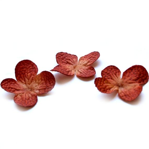 20 Artificial Silk Hydrangea Blossoms in Rustic Orange - Artificial Flowers, Silk Blossoms