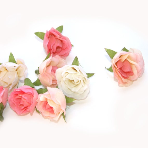 10 Baby Silk Roses - Antique Pink Collection - Artificial Flower Heads, Silk Flowers