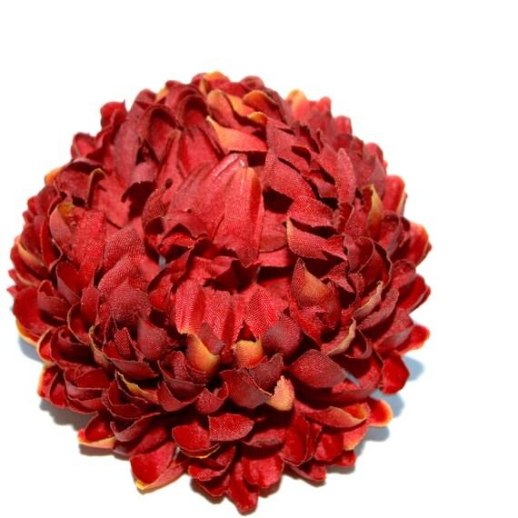 1 Fire Orange Mum - Artificial Flowers, Silk Flower Heads