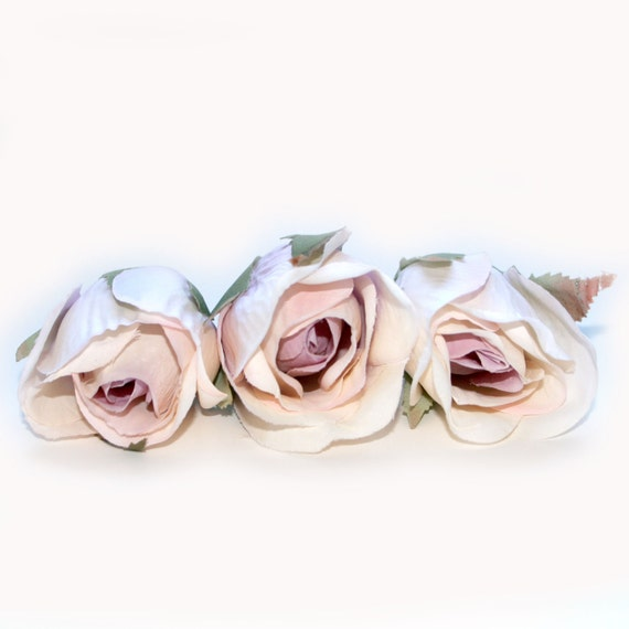 3 Silk Roses - Antique Pink and Lilac - Artificial Flowers, Silk Flower Heads