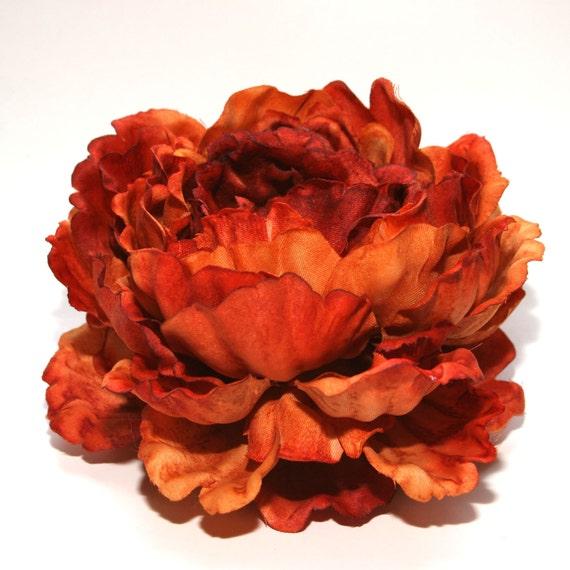 1 ENORMOUS Rust Orange Peony - Artificial Flowers, Silk Flowers - PRE-ORDER