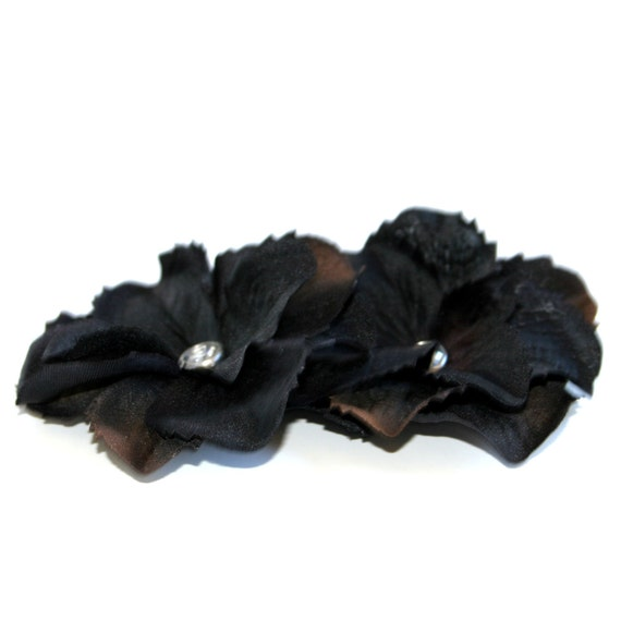 2 Black/Brown Silk Hydrangea Flowers - Embellished with Clear Crystal - Artificial Flowers, Silk Blossoms