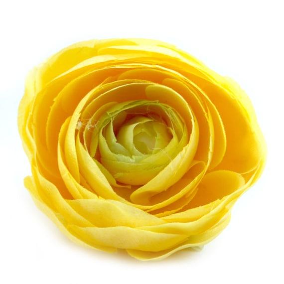 1 Yellow Silk Ranunculus - Artificial Flowers, Silk Flowers