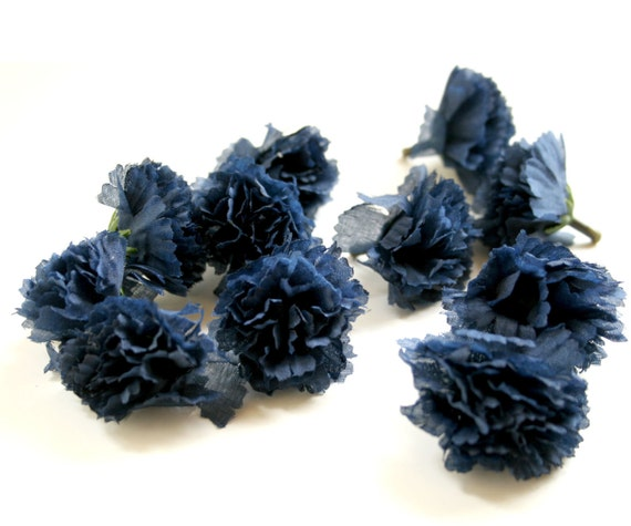 25 Navy Blue Carnations - Artificial Flowers