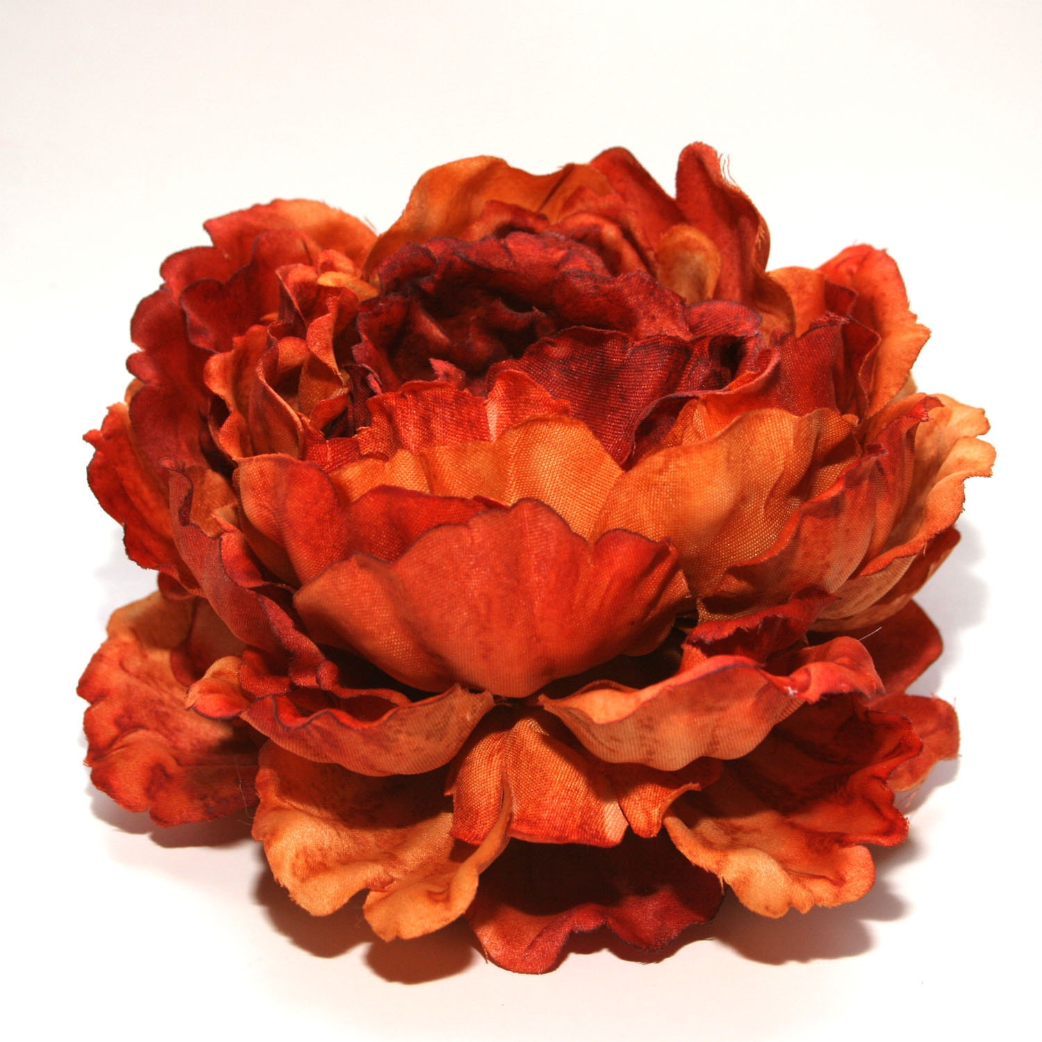 1 enormous rust orange peony artificial flower head silk zoom dhlflorist Images