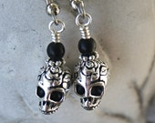 Simply Sugar Skulls Silver and Black Earrings