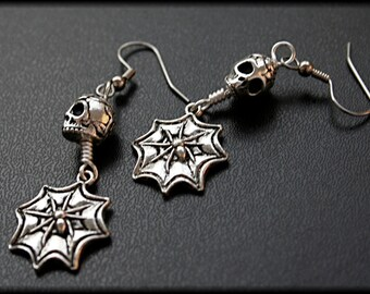 Silver Sugar Skull Earrings, Spider Web Earrings