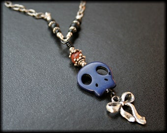 Blue Skull and Bow Necklace