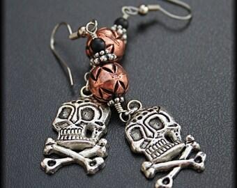 Copper, Silver, and Black Glass Skull Earrings