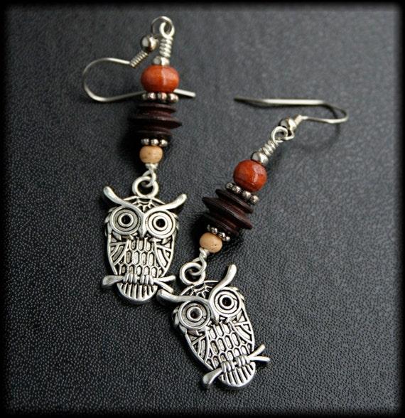 items similar to wooden owl earrings on etsy