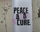 Peace, Love, Cure breast cancer glass tile necklace