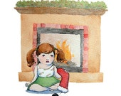 Christmas Greeting Cards - Naughty List Girl - Set of 5 Illustrated Note Cards