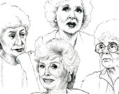 The Golden Girls Greeting Cards - Set of 5 Illustrated Cards - Thank You for Being a Friend