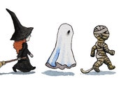 Halloween Cards - Trick or Treat (Witch, Ghost, Mummy) - Set of 5 Halloween Greeting Cards