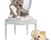 Print - French Bulldogs and a Louis Chair - 8.5 x 11