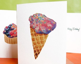 Happy Birthday Cards - Ice Cream Cones / Cupcakes with Sprinkles - Set of 4 Greeting Cards