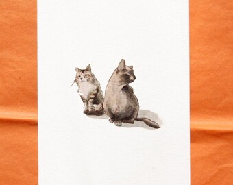 Calico Cats & Siamese Cats - Set of 4 Blank Greeting Cards