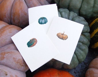 Fall Greeting Cards - PUMPKINS - Halloween & Thanksgiving Set of 3 Blank Note Cards