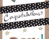 Reserved Listing for Pauli0610 -- You Rock -- Sweet & Sparkly Congratulations Card (blank inside) (original artwork)