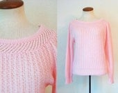 1970s Sweater Cotton Candy Pink Wiggle Pullover Pointelle 50s Style Boatneck Vintage 70s S M Small Medium