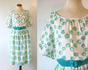 1970s Day Dress Apple Print Aqua Green Gauzy Peasant Boatneck Summer Vintage 70s Novelty M L Boho Medium Large