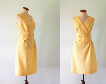 1960s Mod Mini Dress Buttercup Yellow Go Go Twiggy V Neck Vintage 60s Sleeveless Gold Buttons Retro Shift Medium M Nubby Textured Band Waist