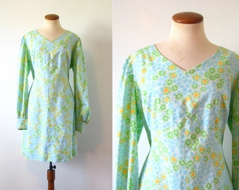 Babydoll Mini Dress Mod 1960s Flower Power Go Go Empire Waist Blue Green Vintage 60s Dolly Puff Sleeves V Neck XXL XL Extra Large Baby Doll