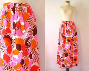 1960s Mod Maxi Skirt Psychedelic Op Art Hot Pink Orange Brown Tie Belt Ankle Length S Small M Medium