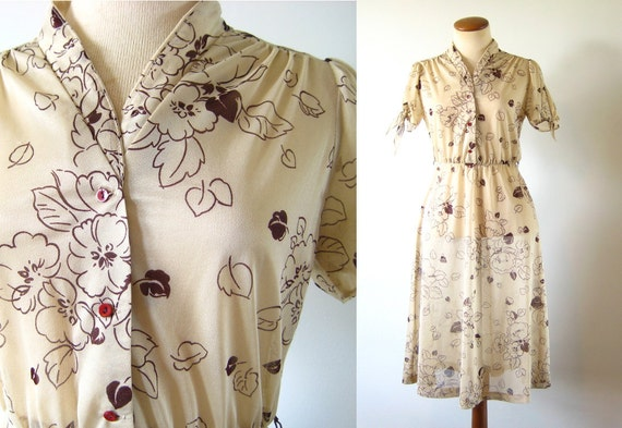 RESERVED    1970s Dress 40s Style Day Dress Brown Floral Sheer Tie Keyhole Sleeves Shirtwaist S M Vintage 70s