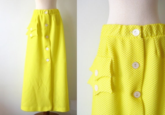 1970s Maxi Skirt Lemon Yellow Mod Ankle Length Button Front Waffle Vintage 70s M L Medium Large