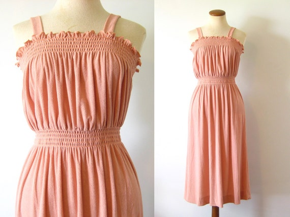 1970s Sundress Smocked Midi Peach Boho Terry Summer Sun Dress High Waist Vintage 70s Gathered Bodice Straight Skirt S M Small Medium