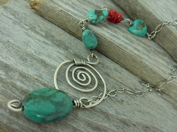 0242 Genuine Turquoise Nuggat Necklace Sterling Silver