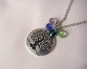 Mother's Gift - Silver Pewter Tree of Life Charm Necklace with Keepsake Birthstone Swarovski Crystals on Silver Chain