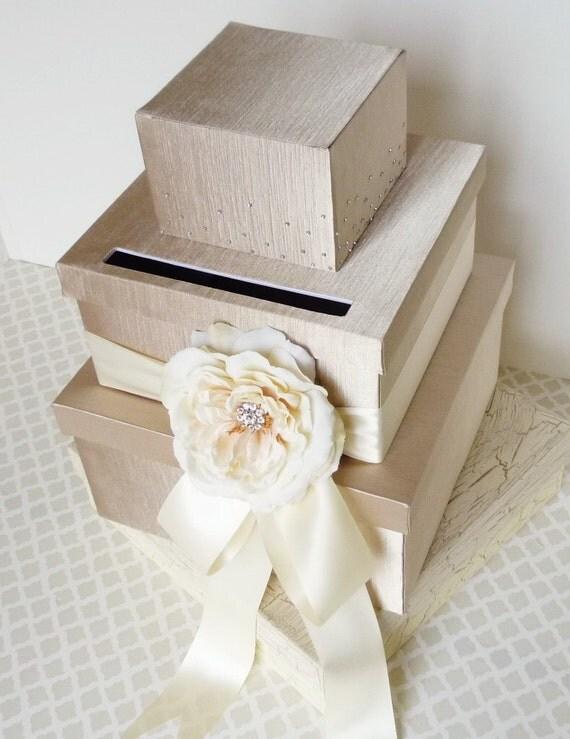 Gift Holder For Wedding : Wedding Card Box Money Gift Holder Champagne Ivory by LittleDivine