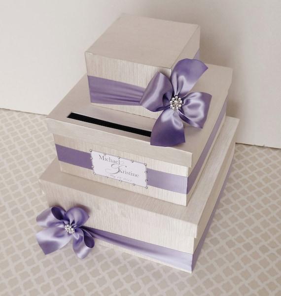 Custom Made WEDDING CARD BOX Money Holder Purple Wisteria Ivory