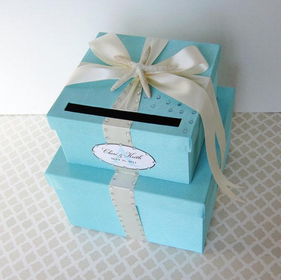 Wedding Gift Card Holder Beach Theme : Wedding Card Box Tiffany Aqua Blue Beach Theme Card Holder Custom Made