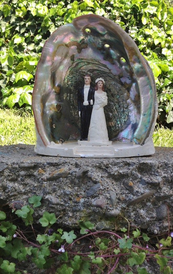 1940s plaster wedding cake topper in an abalone shell