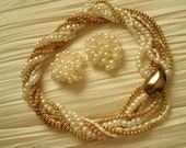 vintage Fw pearls ,gold twisted necklace and earrings set PRICE DROP