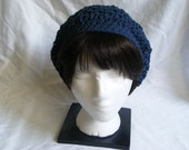Cotton Crochet Slouch Hat - Denim Blue