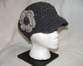 Crochet Newsboy Style Hat with Flower - Charcoal Gray