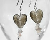 SALE-Grey Glass Hypoallergenic Earrings, White Topaz , Dangle Hearts , great gift for her ,OOAK Jewelry Gifts