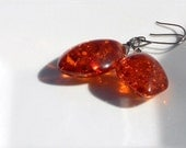 Orange Earrings Amber Gemstone Hypoallergenic dangle earrings, unique gift for her - FREE SHIPPING