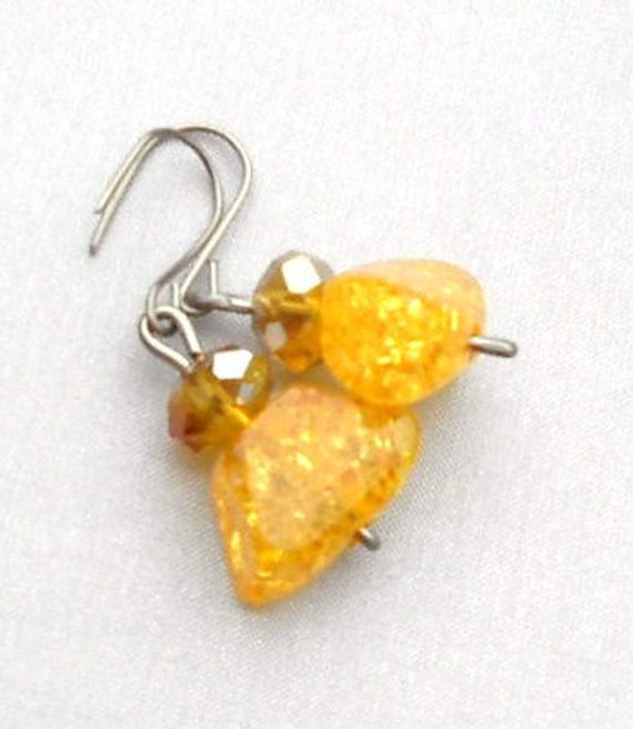 Amber Earrings , Cristals,Hypoallergenic , CLOSING SALE - gift for her ,your summer fashion wear