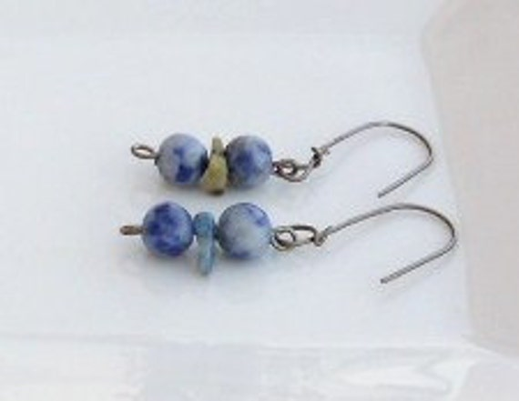 Lapis Lazuli Hypoallergenic Earrings - SHOP CLOSING SALE-  for your gift , girls everyday wear for sensitive earrs